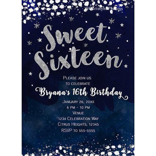 Sweet 16 Blue & Silver Starry Night Celestial Invitations