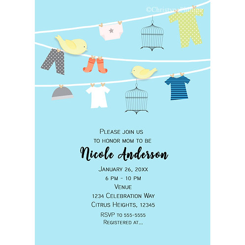 Birds on a Clothing Wire Blue Baby Shower Invitations