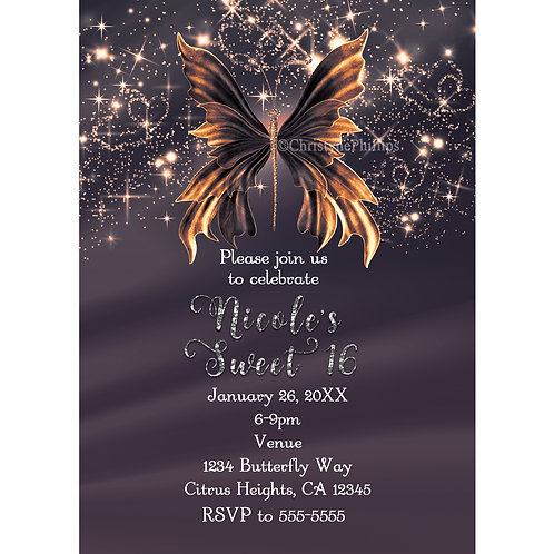 Golden Glam Butterfly Sparkle Girls Birthday Party Invitations