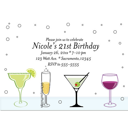 Cute Cocktail Drinks 21st Girls Birthday Party Invitations