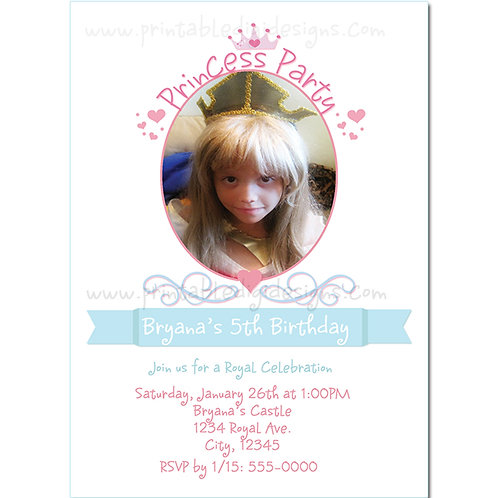 Princess Birthday Party Personalized Photo Invitations