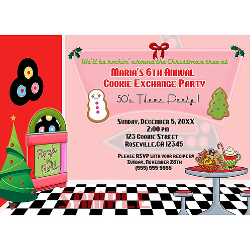 50's Diner Christmas Cookie Exchnge Party Invitation