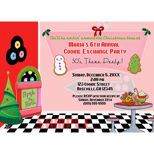 Christmas Cookie Party Invite.50 S Diner Christmas Cookie Exchnge Party Invitation