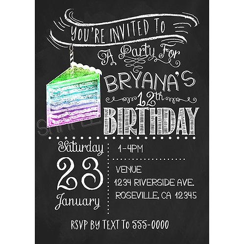 Chalkboard Rainbow Cake Birthday Party Custom Invitations