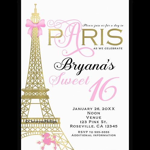 Paris Pink & Gold Elegant Chic Birthday Party Invitations