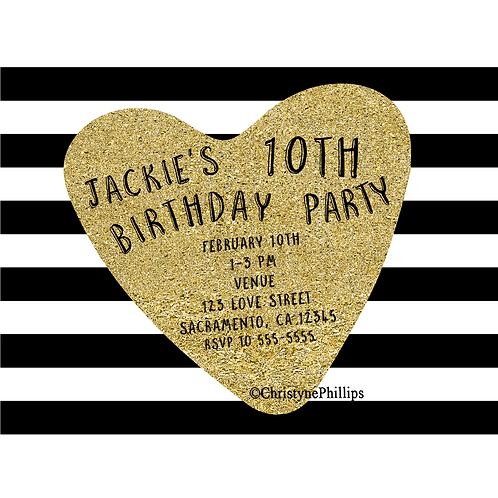 Gold Heart Black and White Stripes Modern Chic Party Invitation
