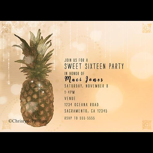 Glam Golden Pineapple Glam Birthday Party Invitations