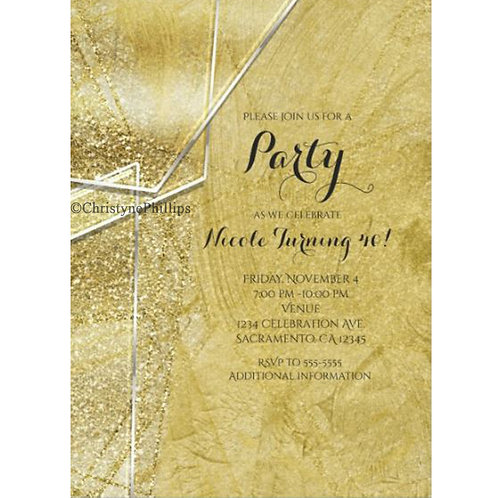 Gold Shimmer Crystal Glass Glam Party Invitations