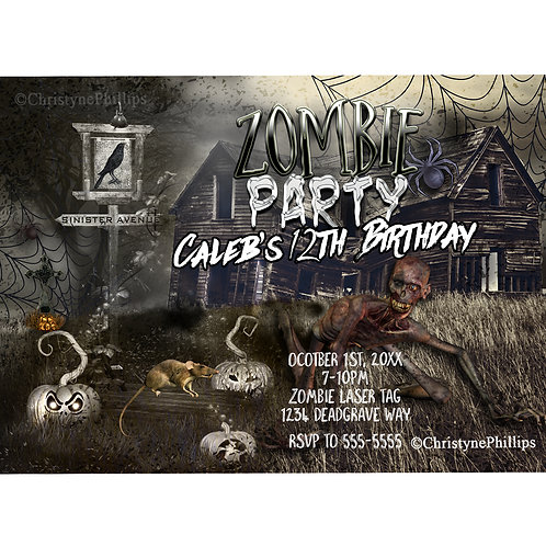 Zombies Sinister Ave Graveyard Birthday Halloween Party Invitations