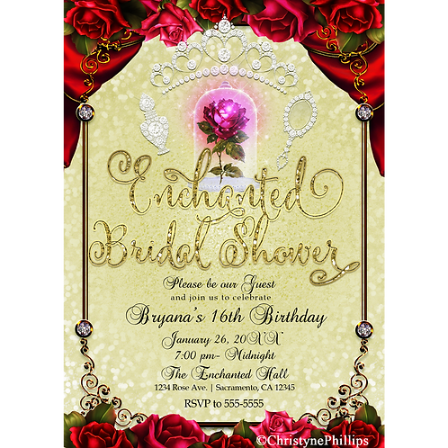 Beauty & The Beast Enchanted Red Rose Yellow Gold Bridal Shower