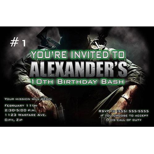 Call of Duty Army Boys Personalized Custom Birthday Party Invitations