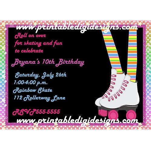 Girls Roller Skating Birthday Party Skate Invitations