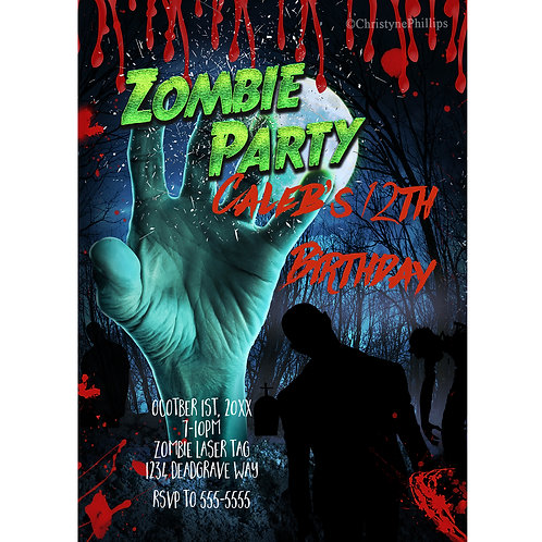 Zombie Hand Birthday Halloween Personalized Party Invitations
