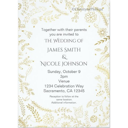 Gold Floral Leaves Rustic Wedding Invitations
