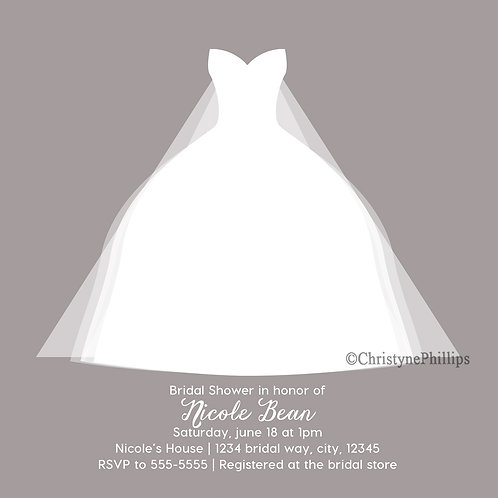 Modern Grey White Bridal Shower Dress Birthday Party Invitations