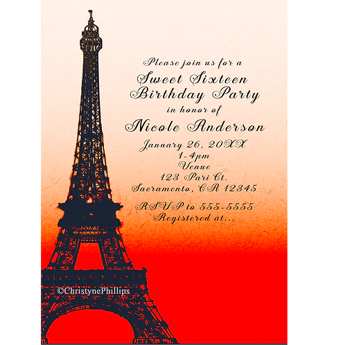 Paris Eiffel Tower Orange Sunset Sky Birthday Party Invitations