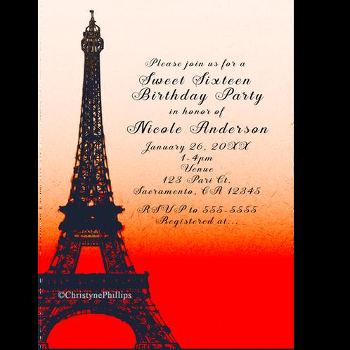Paris Eiffel Tower Orange Sunset Sky Birthday Party Invitations