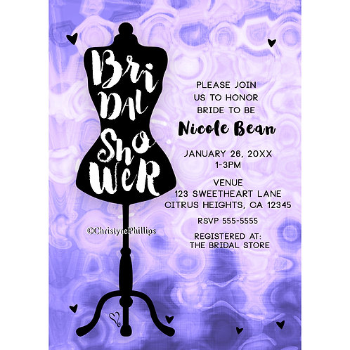 Bridal Shower Fashion Mannequin Purple Whimsical Invitations