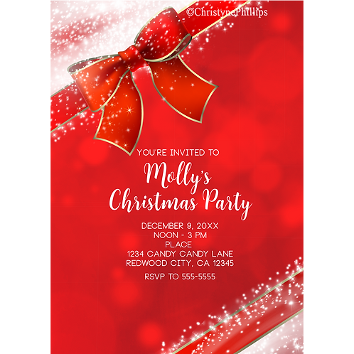 Red Christmas Holiday Sparkle Bow Elegant Party Invitations