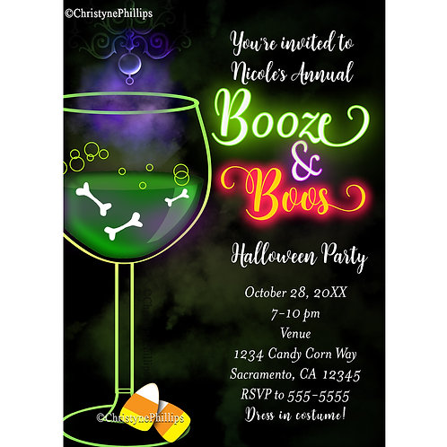 Booze and Boos Halloween Cocktail Costume Party Invitations