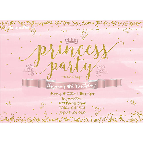 Princess Party Pink and Gold Hearts Birthday Party Invitations