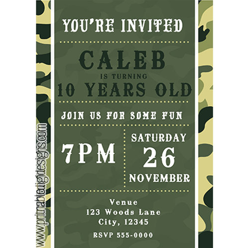 Green Army Camouflage Camo Birthday Party Invitations