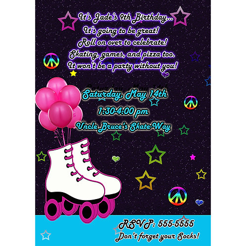 Girls Stars and Peace Signs Roller Skating Birthday Party Invitations
