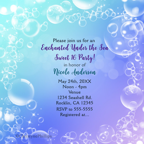 enchanted under the sea bubbles birthday party invitations
