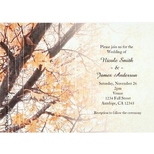 Fall Leaves Maple Tree Rustic Wedding Invitations