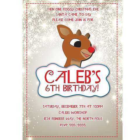 Christmas Birthday Party Invitations.Rudolph Reindeer Holiday Christmas Birthday Party Invitations