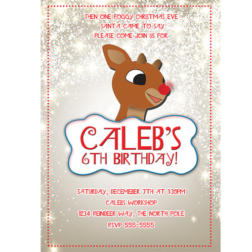 rudolph reindeer holiday christmas birthday party invitations