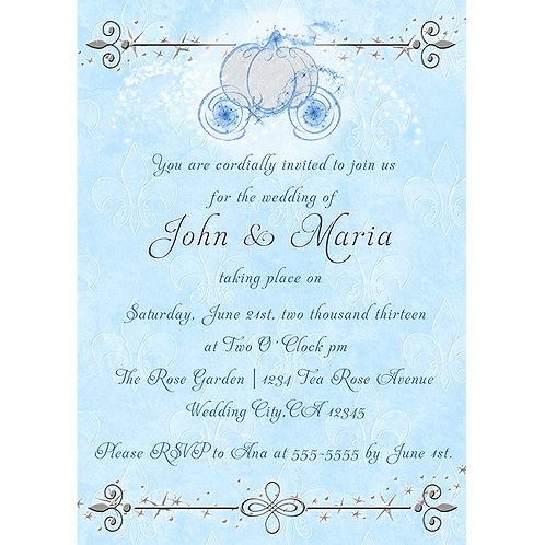 Cinderella Princess Carriage Blue and Silver Fairy Tale Invitations