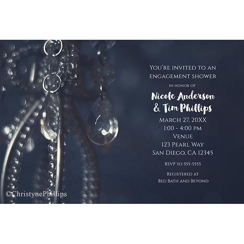 Moody Blue Elegant Crystal Engagement Invitations