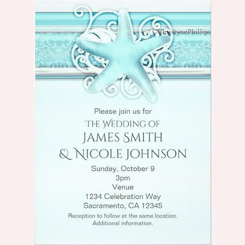 Blue Starfish Elegant Beach Themed Invitations