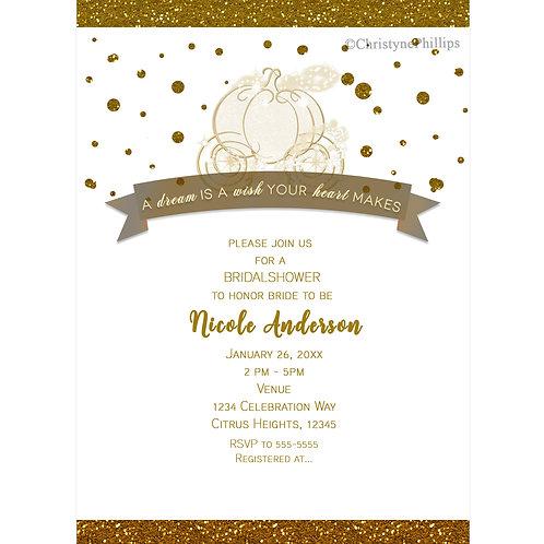 Cinderella Carriage Golden Faux Glitter Bridal Shower Invitations