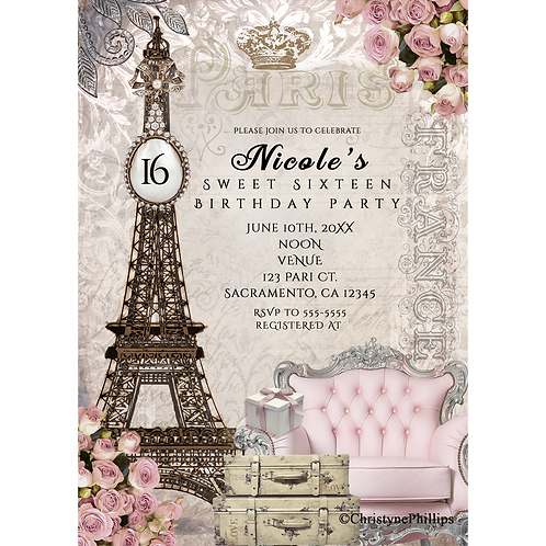 Paris Eiffel Tower Vintage Chic Birthday Party Invitations