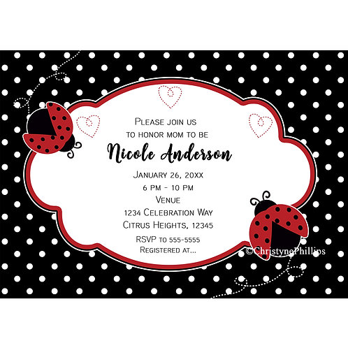 Two Ladybugs Red Black Polka Dots and Hearts Party Invitations