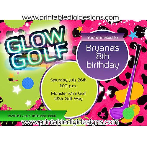 Glow Golf  Pink Leopard Birthday Party Miniature Golfing Custom Invitation