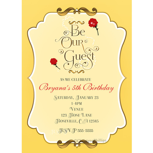 Be our guest yellow red rose princess belle party invitations it can be done in 4x6 or 5x7 size custom sizes smaller than 5x7 may also be done these invitations were inspired by belle filmwisefo