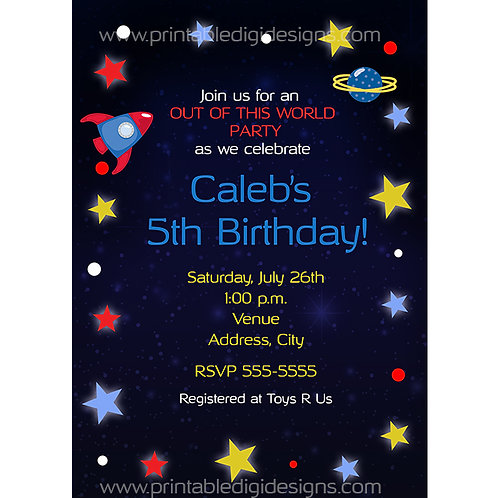 Space Rocket and Stars Kids Birthday Party Personalized Invitations
