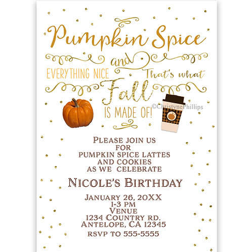 Pumpkin Spice Latte Coffee Autumn Fall Birthday Party Invitations