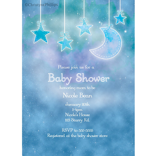 Galaxy sky and Clouds Celestial Hanging Glows Baby Shower Invitations