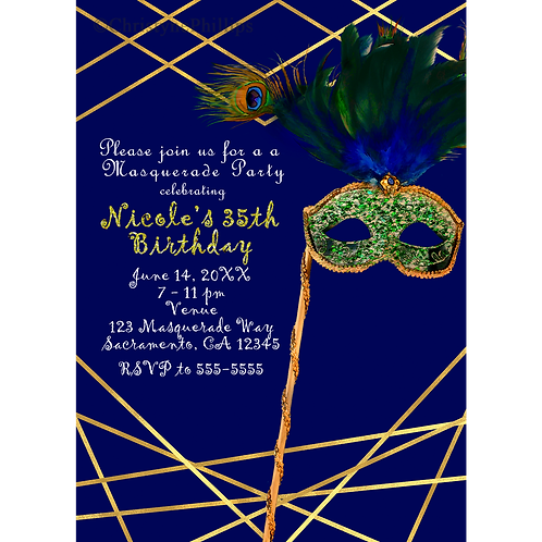 Blue and Gold Elegant Peacock Masquerade Costume Party Invitations