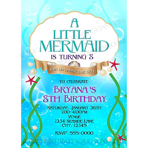 A Little Mermaid Under the Sea Beach Party Birthday Invitations