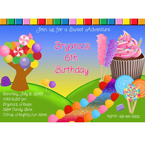 Girls Candy Land Personalized Birthday Party Invitations