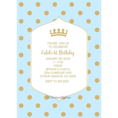 Blue and Gold Polka Dots and Royal Crown Prince Birthday Party Invitati