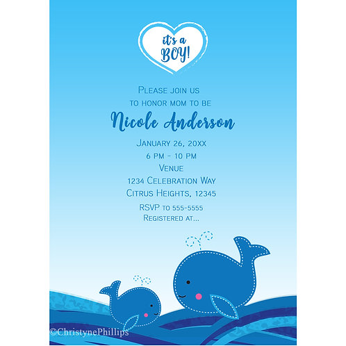 Two Whales in the Sea Tropical Blue Baby Shower Invitations