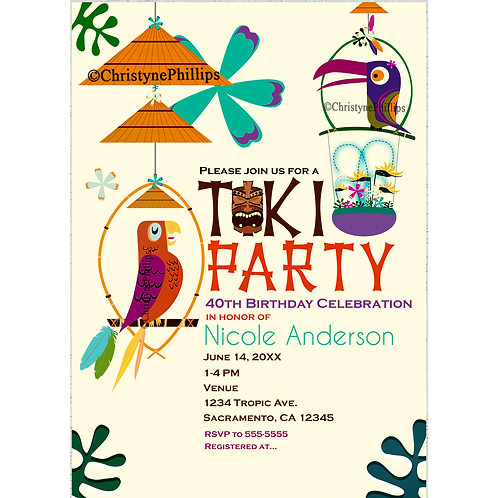Tiki Room Birds Tropical Birthday Party Custom Invitations