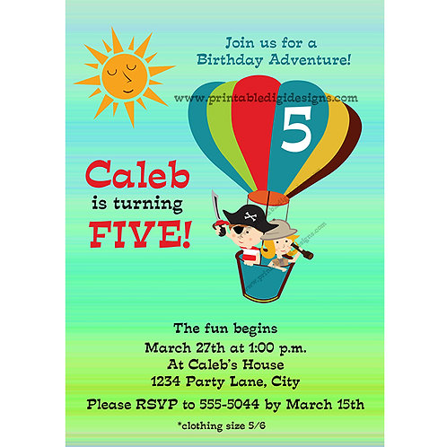 Hot Air Balloon Retro Adventure Kids Birthday Party Invitations