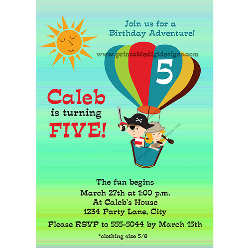 Hot air balloon retro adventure kids birthday party invitations hot air balloon retro adventure kids birthday party invitations 1500 this invitation can be customized for any event it can be done in 4x6 or 5x7 filmwisefo